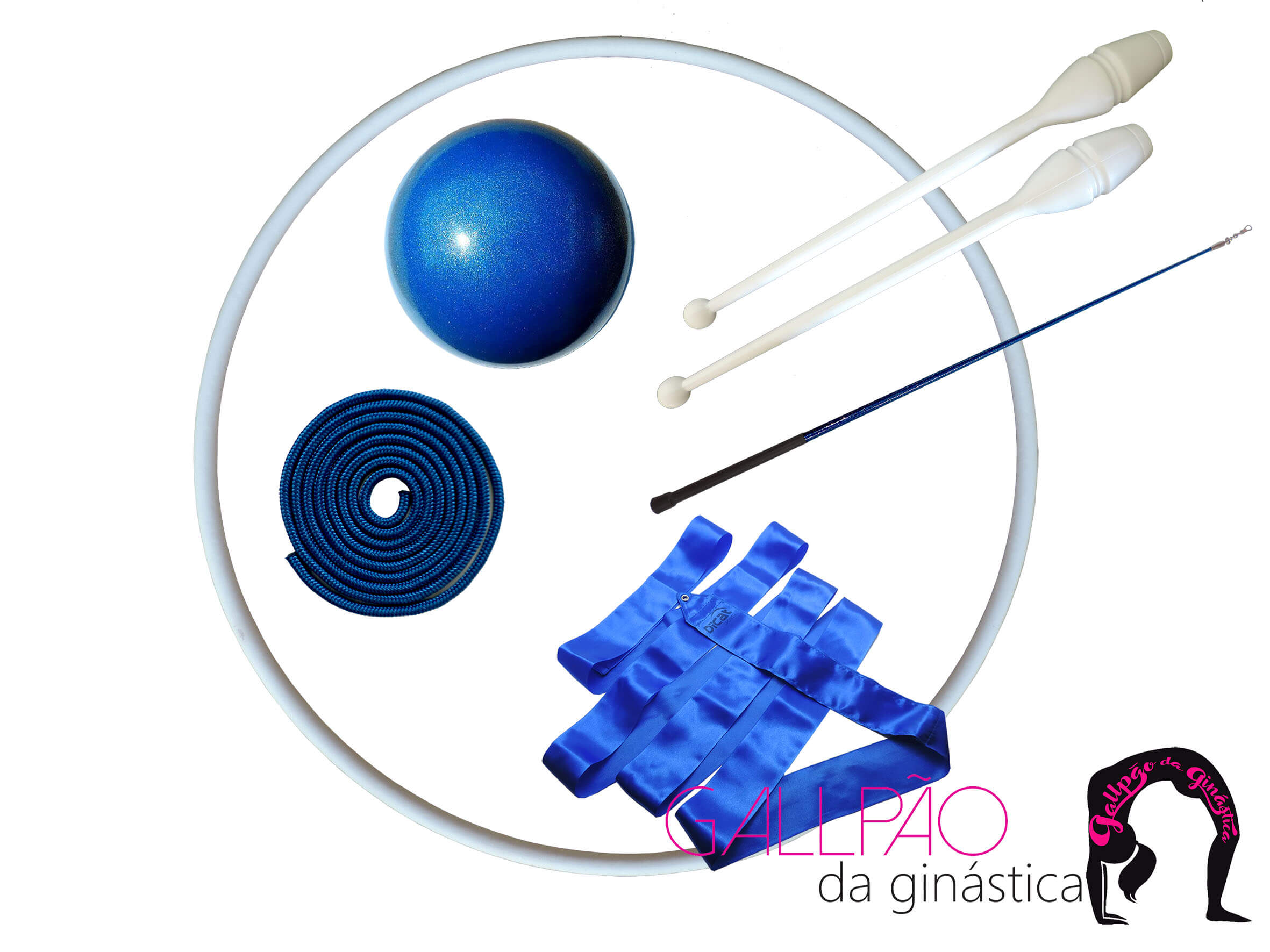 Kit Ginástica Rítmica Azul Metalizado