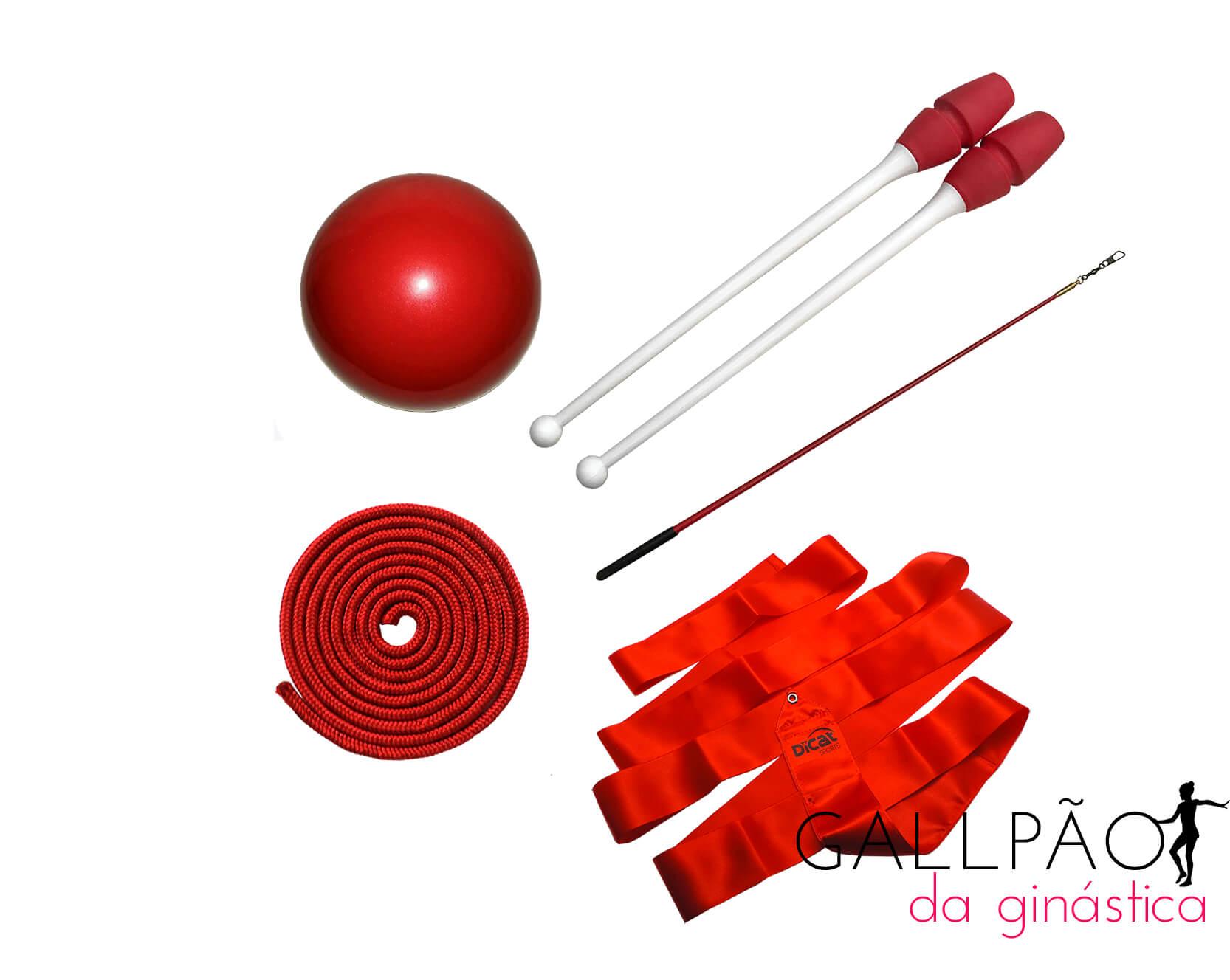 "Kit Ginástica Rítmica Vermelho ""ADULTO"" (SEM ARCO)"