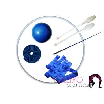 Kit Ginástica Rítmica Juvenil Azul Metalizado