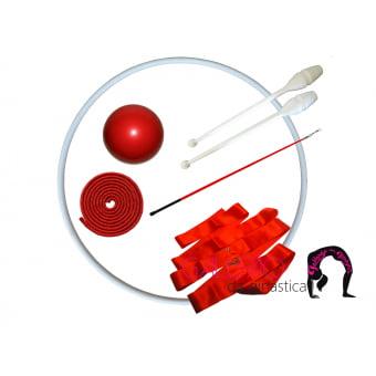 Kit Ginástica Rítmica Juvenil Vermelho Metalizado