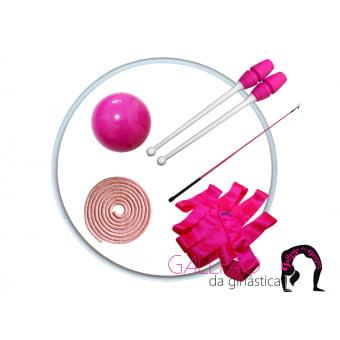 Kit Ginástica Rítmica Pink Metalizado com Maça Conectável
