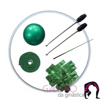 Kit Ginástica Rítmica Completo Verde Metalizado com Maça Conectável