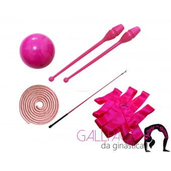 Kit Ginástica Rítmica Pink Metalizado - SEM ARCO