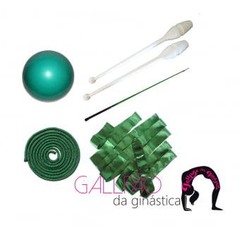Kit Ginástica Rítmica Verde Metalizado - SEM ARCO