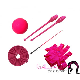 Kit Ginástica Rítmica Pink Fluorescente - SEM ARCO